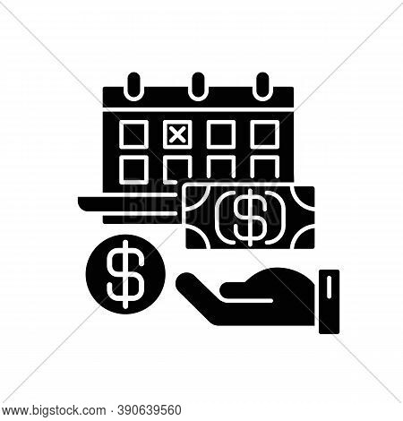 Monthly Payment Black Glyph Icon. Financial Investment. Time On Calendar For Paying Debt. Date For C