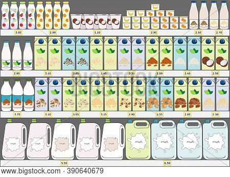 Set Of Milk Products Dairy And Vegan Milk Alternatives On Shelves In Supermarke