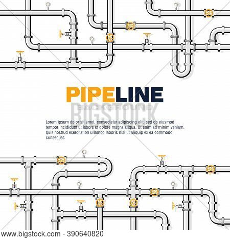 Gas Pipeline Square Vector Background With Space For Text. Branching And Intertwining Pipes With Tap