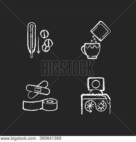 First Aid Medication Chalk White Icons Set On Black Background. Fever Reducer Pills. Oral Rehydratio