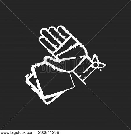 Gauze Bandages And Pads Chalk White Icon On Black Background. Adhesive Wrap For Hand Injury. Joint T