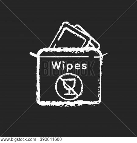 Alcohol Free Wipes Chalk White Icon On Black Background. Disinfectant Paper Towels. Sanitation Tissu