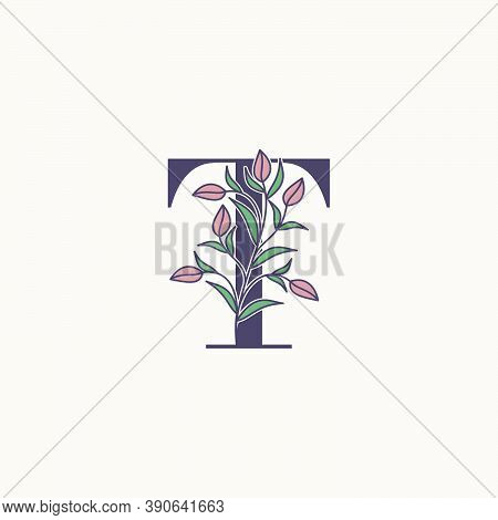 Ornate Initial Letter T Logo Icon, Vector Letter With Flower And Natural Leaf Clip Art Designs.