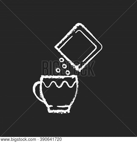 Oral Rehydration Salts Chalk White Icon On Black Background. Medical Salts For Diarrhea Treatment. D