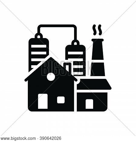 Black Solid Icon For Industry Hazardous Refinery Manufacturing Factory Plant Smokestack Nuclear-plan