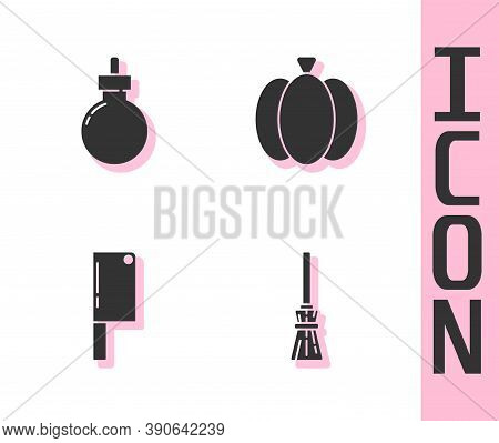 Set Witches Broom, Bomb Ready To Explode, Meat Chopper And Pumpkin Icon. Vector