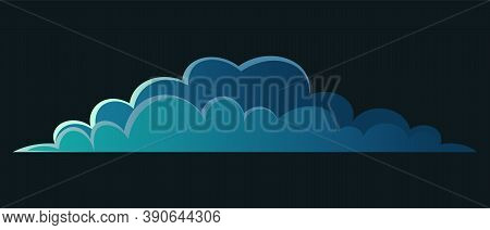 Stormy Dark Cartoon Cloud On Dark Background For Games, Sites, Banners. Ominous Rain Weather. Thunde
