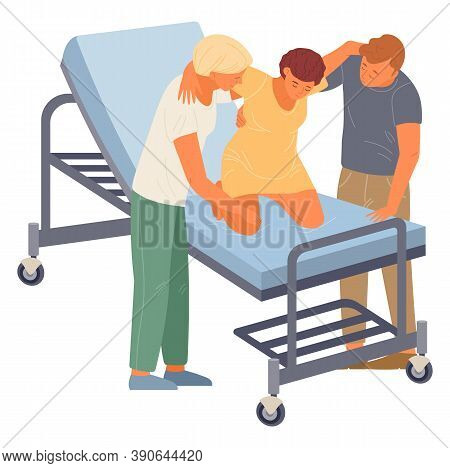 Birth Position For Pregnant Woman, Husband And Nurse Help Mother To Relax At Medical Bed, Comfortabl