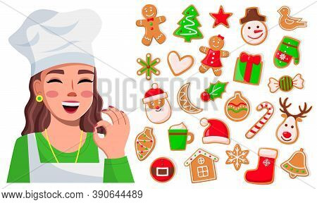 Smiling Cook Woman Show Ok Good Sign. Delicious Sweet Cookies. Set Of Christmas Cookies, Fir-tree, S