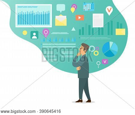 Thoughtful Businessman. Man Looking At Strategy, Organizing Work Time, Analysing Data, Diagrams, Cha
