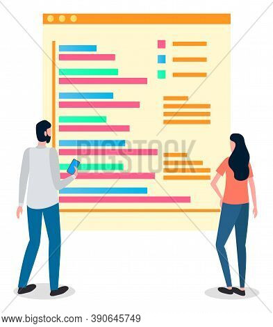 Analysing Info At Website, People, Man Holding Phone, Woman Looking, Thinking At Infochart, Review,
