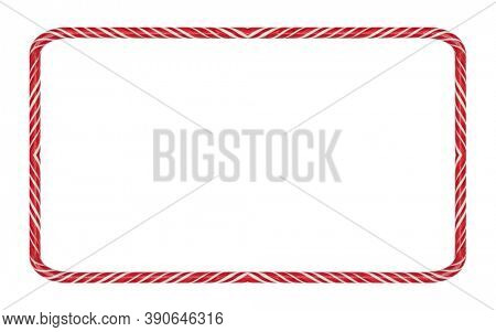 Candy cane striped Christmas frame isolated on white background