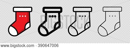 Chirstmas Stocking In Red And Black. Cartoon Xmas Socks Collection. Outline Hanging Stocking On Tran
