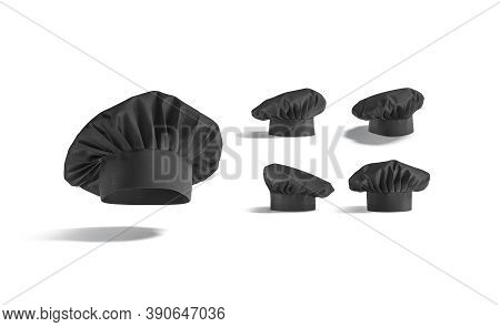 Blank Black Toque Chef Hat Mockup, Different Views, 3d Rendering. Empty Mortarboard Culinary Cap Moc