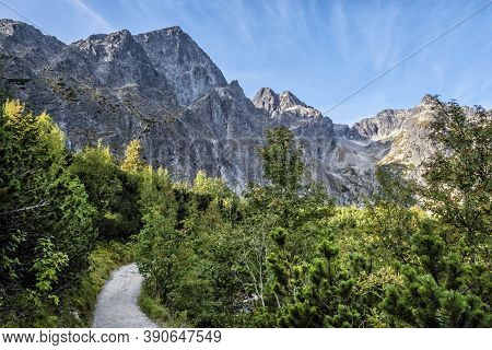 Green Tarn Valley Scenery, High Tatras Mountains, Slovakia Republic. Seasonal Natural Scene. Travel