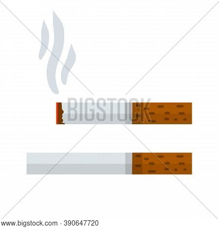 Cigarette. Smoking And A Cigarette Butt With Smoke. Bad Habit. Set Of Horizontal Objects.