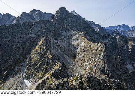 High Tatras From Jahnaci Peak, Slovak Republic. Hiking Theme. Seasonal Natural Scene.