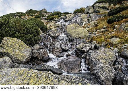 Frog Brook, High Tatras Mountains, Slovak Republic. Hiking Theme. Seasonal Natural Scene.