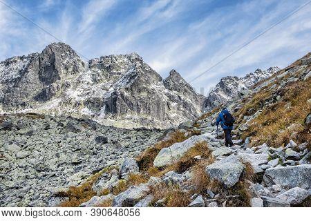 Trip To The Rysy Peak, High Tatras Mountains, Slovak Republic. Hiking Theme.
