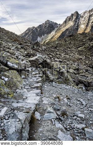 High Tatras Mountains Scenery, Slovak Republic. Hiking Theme. Seasonal Natural Scene.