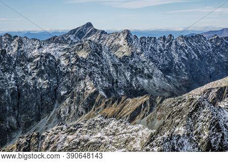 High Tatras Mountains Scenery From Rysy Peak, Slovak Republic. Hiking Theme. Seasonal Natural Scene.