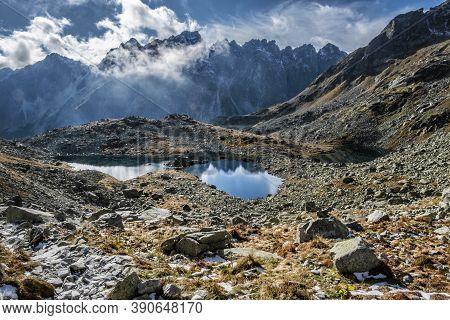 Frog Tarn, High Tatras Mountains, Slovak Republic. Hiking Theme. Seasonal Natural Scene.