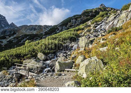 Autumn Scene In Mengusovska Valley, High Tatras Mountains, Slovak Republic. Hiking Theme.