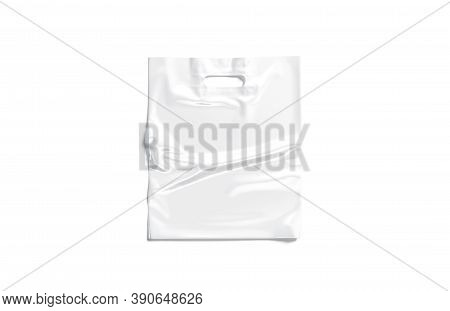 Blank White Die-cut Plastic Bag With Handle Hole Mockup, 3d Rendering. Empty Diecut Packet For Purch