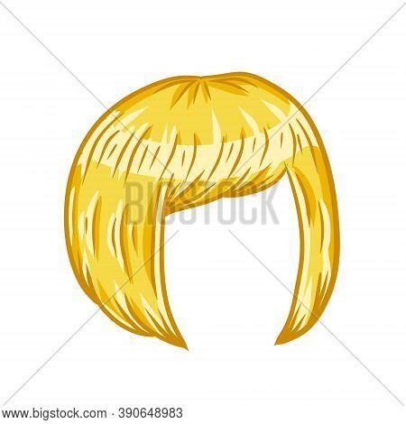 Women Hairstyle. Blonde Hair On The Head. Trendy Modern Haircuts Girl - Bob Cut. Sketch Color Cartoo