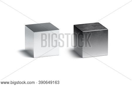 Blank Metallic Gloss And Matte Cube Mockup Set, 3d Rendering. Empty New And Old Scratched Metal Cubo
