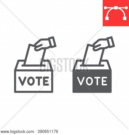 Hand Voting Ballot Box Line And Glyph Icon, Election And Vote, Vote Box Sign Vector Graphics, Editab