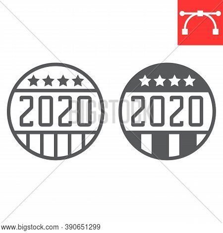 Vote Badge 2020 Line And Glyph Icon, Election And Democratic, Vote Button Sign Vector Graphics, Edit