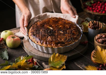 Homemade Apple Pie Surrounded By Fresh Fruits, Nuts, Apples In Woman Hands. Apple Pie- Homemade Gour