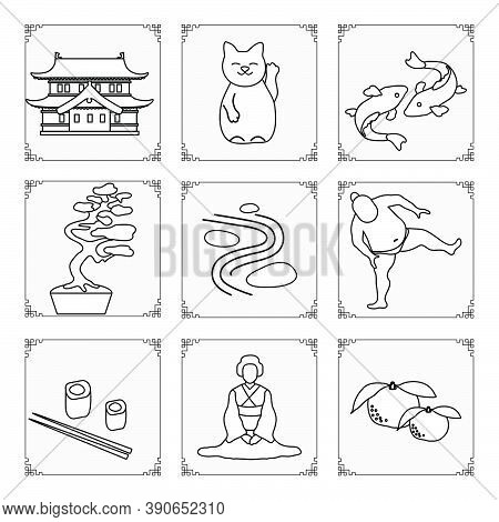 Symbols Of Japanese Culture. Japanese Woman In Kimono, Tangerines, Rolls, Chopsticks, Sumo Athlete,