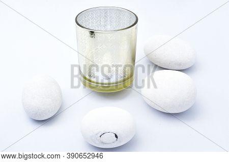 Glass Glass, Sea Stones, Four Pieces White Egg