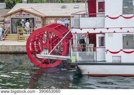 Kingston Marina, Ontario, Canada, July 2012 - Rear Of A Steamboat With Paddle Wheels, Docked To The