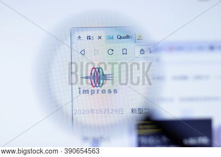 New York, Usa - 29 September 2020: Impress.co.jp Impress Company Website With Logo Close Up, Illustr