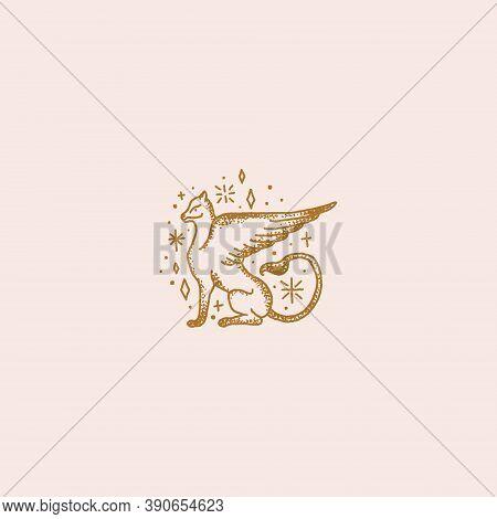 Magical Logo Medieval Beast, Fantastic Animal Art Griffin