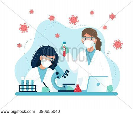 Vaccine Research, Scientists Conducting Experiments In Lab. Vector Illustration In Flat Style