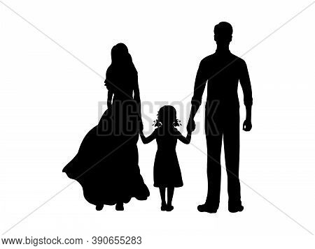 Silhouettes Mother Father And Little Daughter Holding Hands From Back. Illustration Graphics Icon Ve