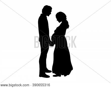 Silhouette Couple Expecting Baby Hold Hands. Illustration Graphics Icon Vector
