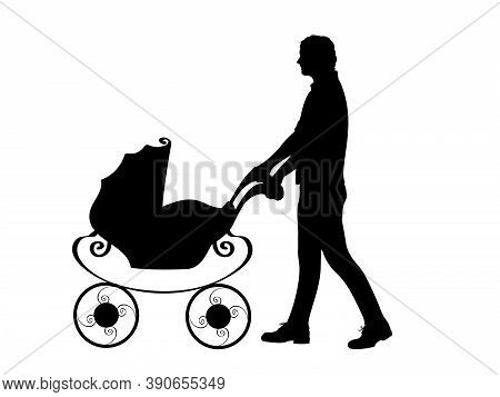 Silhouette Father Male Pushing Baby Stroller. Illustration Graphics Icon Vector