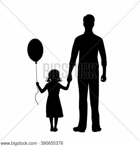 Silhouettes Of Standing Father And Daughter With Balloon From Back. Illustration Graphics Icon Vecto