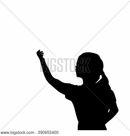 Silhouette Little Girl With Blank Space On White Background. Illustration Graphics Icon Vector