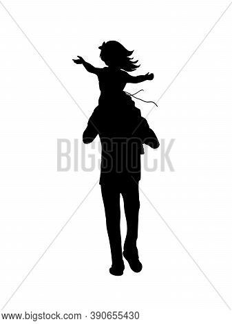 Silhouette Father Walking With Happy Daughte On Shoulders From Back. Illustration Graphics Icon Vect