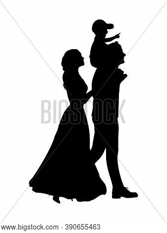 Silhouette Happy Family Mother And Father Carry Son On Shoulders. Illustration Graphics Icon Vector