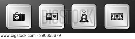Set Photo Camera, Valentines Day Party Flyer, Couple Love And Play Video With Heart Icon. Silver Squ