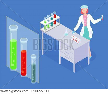 Scientist Woman Wearing White Gown Exploring Elements, Making Tests With Flasks And Test Tubes, Liqu