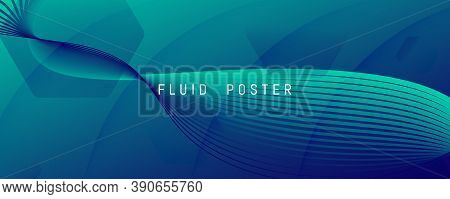 Blue Dynamic Wave. Flow 3d Flyer. Color Geometric Shape. Dynamic Wave. Vibrant Banner. Fluid Element