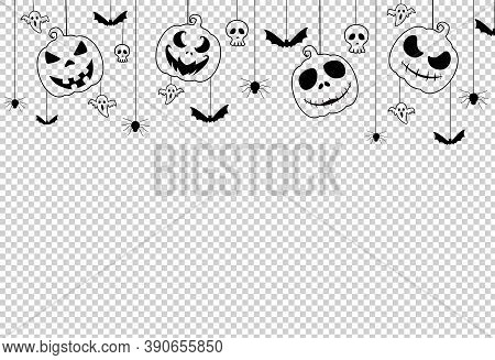 Halloween Party  Banner  With Scary Pumpkin Face , Bats, Spiders,  Hanging From Top On On Png Or Tra